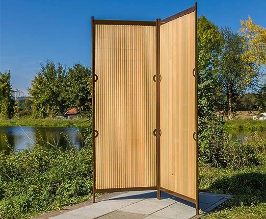 bambus-discount.com biombos Rügen 160 x 130 cm teca/marrón, 2 piezas – Biombo separador mobile para ventana pared separador: Amazon.es: Jardín