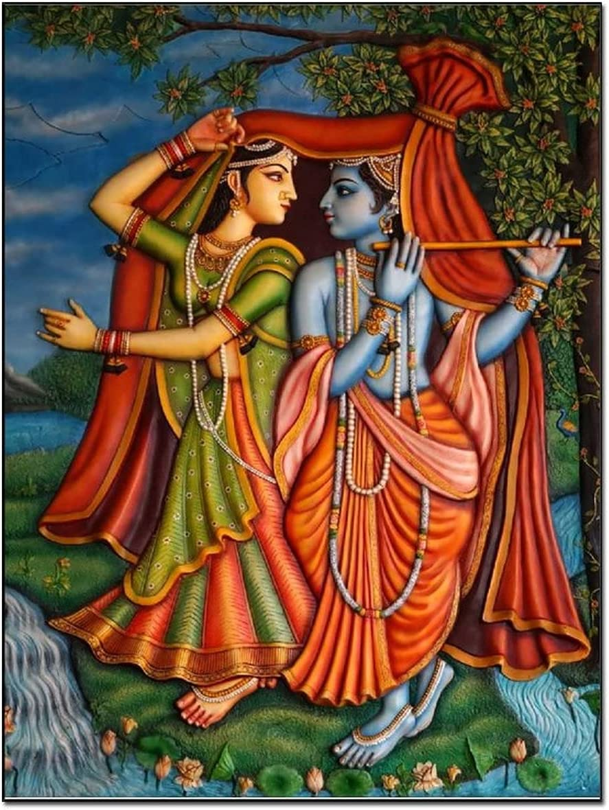 Posters Hindu Gods Sri Krishna Radha Wall Art Paintings, Home Decor, Living Room Decor, Room Decor Canvas Art Poster and Wall Art Picture Print Modern Family bedroom Decor Posters 16×20inch(40×51cm)