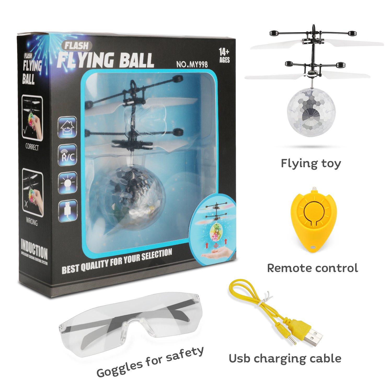 Fansteck 2 Pack Bola voladora Adultos Dron helic/óptero Bola de Vuelo por inducci/ón infrarroja con Gafas de protecci/ón para ni/ños RC Flying Juguetes