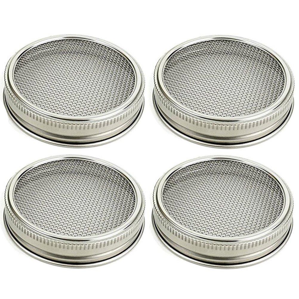 bestonzon pacchetto di 4colini di germinazione in acciaio inossidabile a setaccio per vasetti a lattine a bocca rotonda e setaccio a Semi