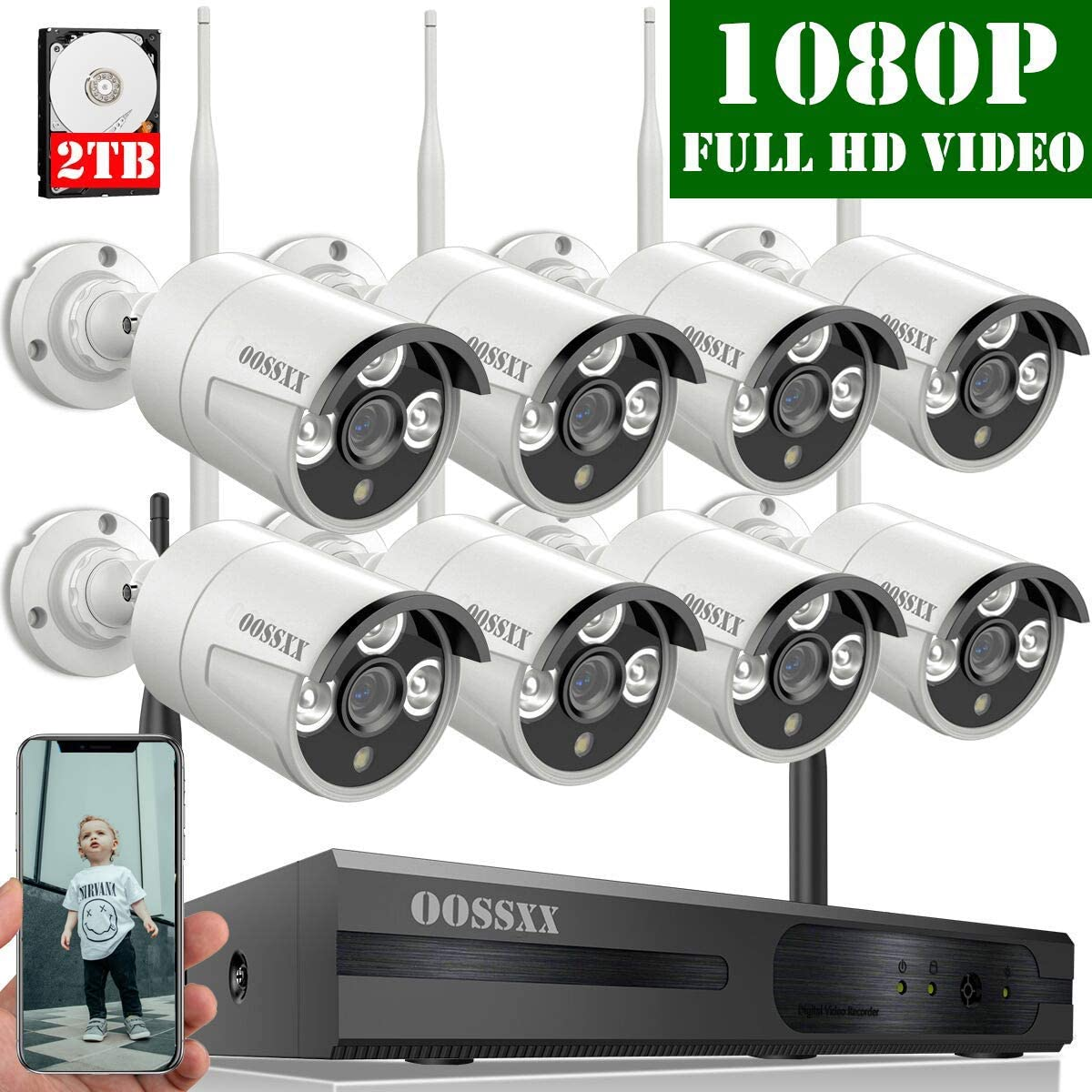 2020 Update OOSSXX 8-Channel HD 1080P Wireless Security Camera System,8Pcs 1080P 2.0 Megapixel Wireless Indoor Outdoor IR Bullet IP Cameras,P2P,App, HDMI Cord 2TB HDD Pre-Install