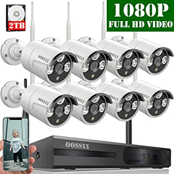1.0 Megapixel Wireless Indoor//Outdoor IR Bullet IP Cameras,P2P,App 【2019 Update】 HD 1080P 8-Channel OOSSXX Wireless Security Camera System,4Pcs 720P HDMI Cord /& 1TB HDD Pre-Install