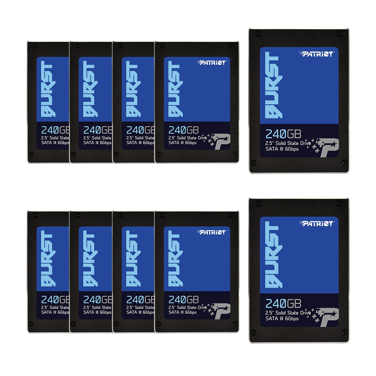 Patriot Memory Burst SSD 240GB SATA III Internal Solid State Drive 2.5'' - Retail Package 10 Unit Pack