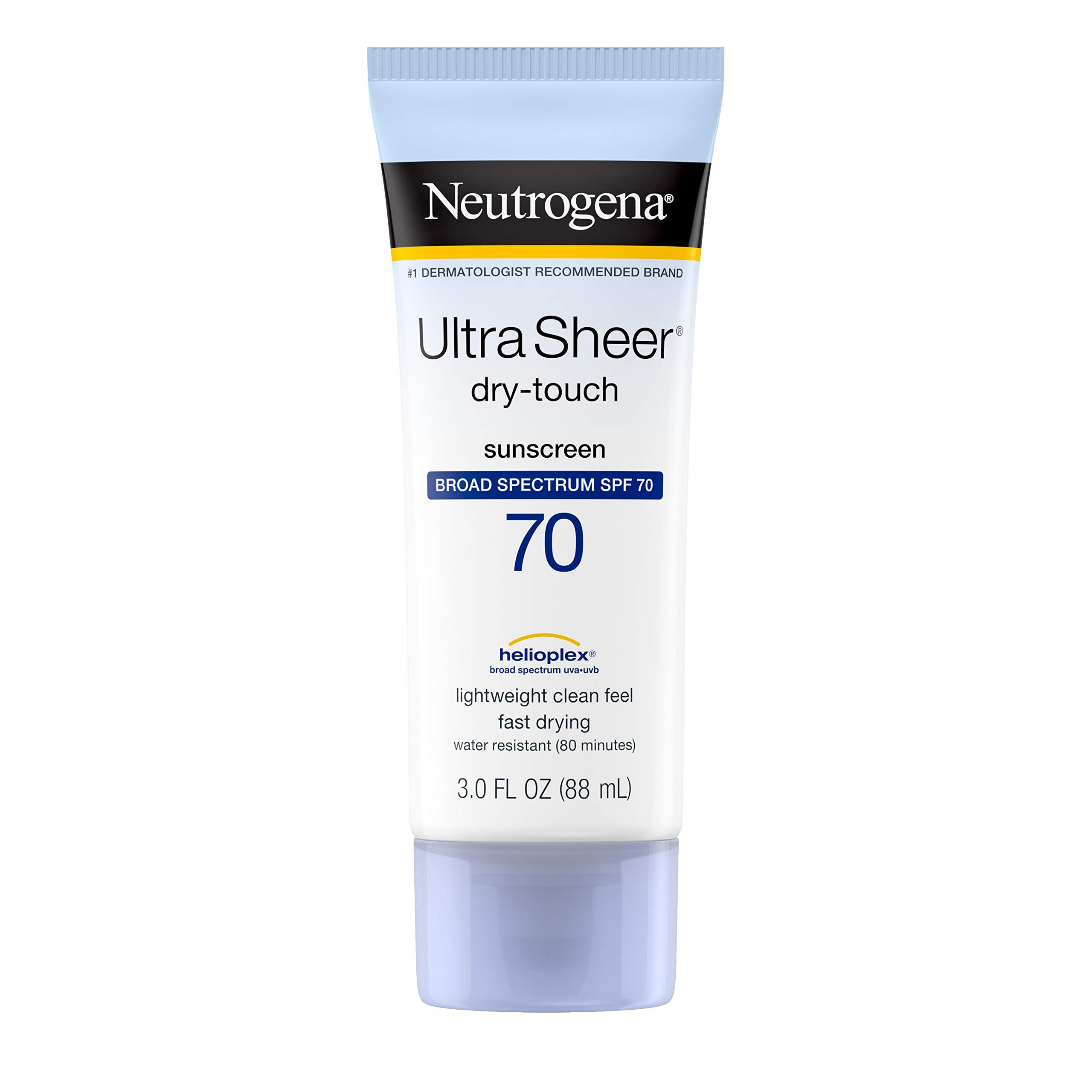 Neutrogena Ultra Sheer Dry-Touch Sunscreen Lotion, Broad Spectrum SPF 70 UVA/UVB Protection, Lightweight Water Resistant, Non-Comedogenic & Non-Greasy, Travel Size, 3 fl. oz