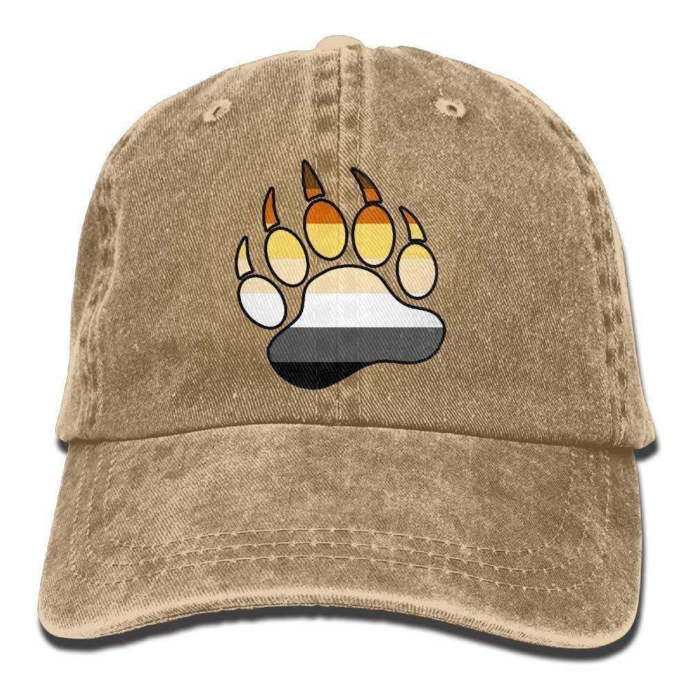 ERCGY Gay Bear Pride Paw Unisex Denim Bucket Hat Comfortable Visor Caps Funny Unisex Hip Hop