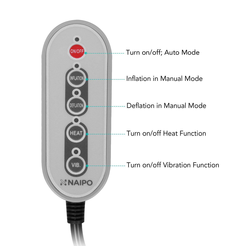 Naipo Lendenwirbelst/ütze R/ücken Lendenkissen St/ützt Lumbar Support Pillow R/ückenkissen Luftdruck Aufblasbar-Traktion mit W/ärmefunktion Vibration f/ür die Linderung der Taille R/ückenm/üdigkeit