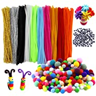 HEHALI 800pcs Pipe Cleaners Set,Including 350pcs Colorful Pom Poms,250pcs 10 Colors Pipe Cleaners and 200pcs Wiggle Googly Eyes for Craft DIY Art Supplies (800pcs)