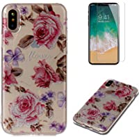 For iphone X Case with Pattern Pink Rose,OYIME Glitter Bling Design Ultra Thin Slim Fit Protective Back Cover Soft Silicone Rubber Shell Drop Protection Anti-Scratch Transparent Bumper and Screen Protector