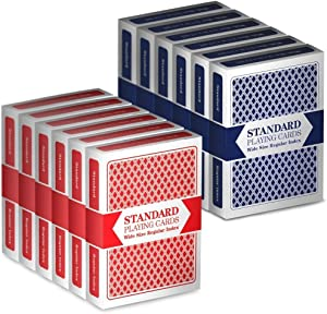 Brybelly 12 Decks (6 Red/6 Blue) Wide-Size, Regular Index Playing Cards Set – Plastic-Coated, Classic Poker Size