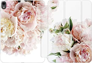 Cavka Case for Apple iPad 10.2 8th Gen 12.9 Pro 11 10.5 9.7 Air 3 Mini 5 4 3 2 1 2019/18 Floral Slim Pink Fresh Women Lush Flowers Design Peonies Bouquet Lightweight Clear Protective Tender