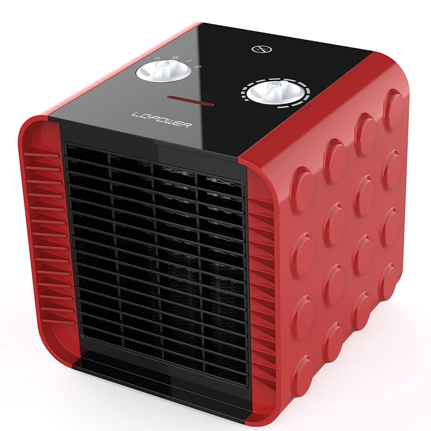 LCPOWER Space Heater,Portable Electric Space Heater with Adjustable Thermostat,Overheat and Tip-Over Protection,Ceramic Small Heater for Office,Home Red,750W 1500W