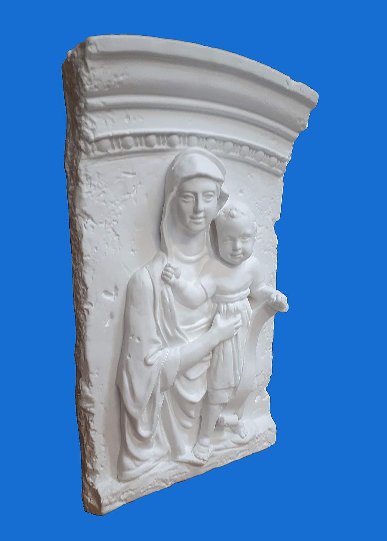 Madonna con Bambino su Archetto- BASSORILIEVO in Gesso Prodotto Laccato Bianco
