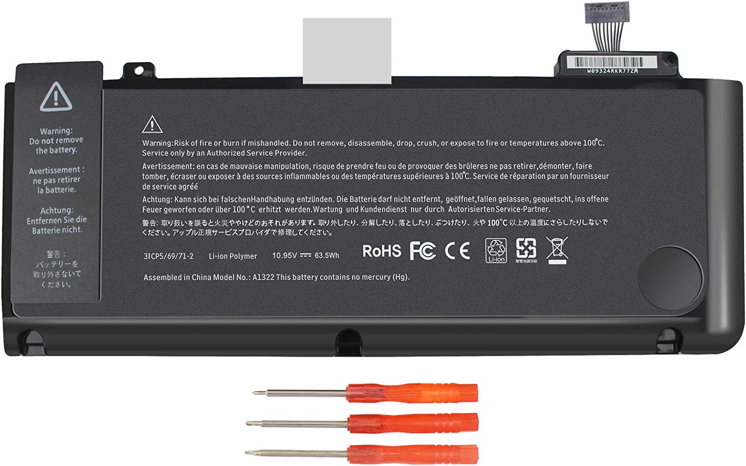 A1321 A1286 Laptop Battery for MacBook Pro 15 Inch Mid 2009 Mid 2010, Replacement for MacBook Pro Battery A1321 A1286 MC371LL/A MC372LL/A MB985 MB986 MC118 77.5WH