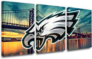 Cityscape Paintings National Football League Pictures Philadelphia Eagles Wall Art Printed on Canvas House Decor Giclee Green Artwork for Bedroom Gallery-Wrapped Framed Ready to Hang(42''W x 20''H)