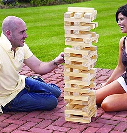 Beijinda - Bloques de madera gigantes de Jenga Tower para uso en exteriores, juegos de jardín familiar, divertidos, 1,2 m: Amazon.es: Hogar