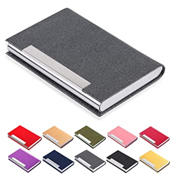 Gray Keep Your Business Cards Clean Efaithtek Professional Business Card Holder Business Name Card Holder Luxury PU Leather /& Stainless Steel Multi Card Case