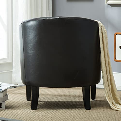 BELLEZE Modern Club Chair Accent Elegance Faux Leather Living Room Armrest Elegance Seat
