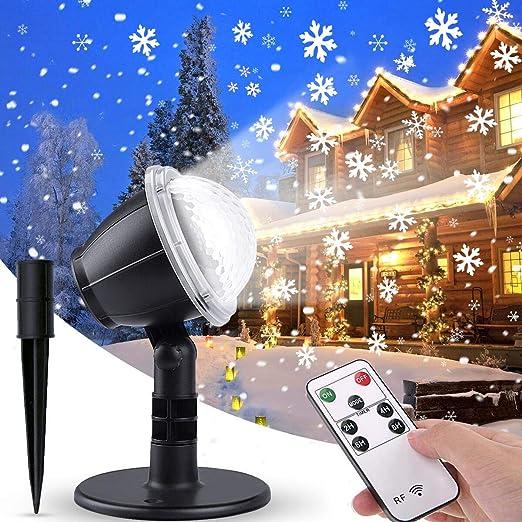 IREGRO Luces de Proyector Navidad Copos de Nieve Luz de nevadas Navidad Impermeable LED Exterior Decoración Luz de Proyector con Control Remoto Patrón ...