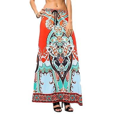 Choies de impresión africana de mujer largo Maxi falda w cordón ...