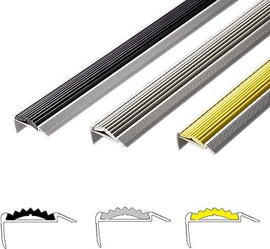 Perfil de borde de aluminio para escaleras Power Grip - Base de goma antideslizante - Montaje invisible: autoadhesivo/pretaladrado - Perfil de escalera en 3 colores y longitudes, Negro: Amazon.es: Bricolaje y herramientas