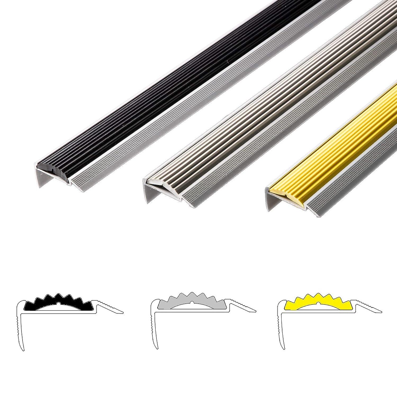 unsichtbare Montage: selbstklebend//vorgebohrt selbstklebend, grau, 90 cm rutschhemmende Gummi-Einlage Treppenwinkel Profil in 3 Farben /& L/ängen Alu Treppenkantenprofil Power Grip
