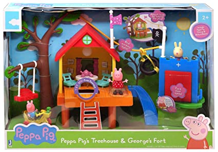 Amazoncom Nick Jr Peppa Pigs Treehouse And Georges Fort Playset