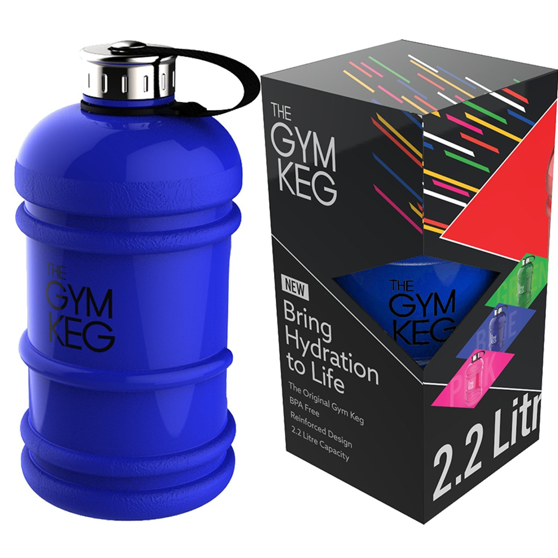 The Gym Keg – Botella de agua para actividades deportivas, 2,2 L, con asa, ecológica, sin bisfenol A, tamaño grande, Gloss Blue: Amazon.es: Deportes y aire ...