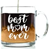 Best Mom Ever Glass Coffee Mug - Great Birthday Gift Idea For Mom - Novelty Valentines Day Present For a Mother from Son, Daughter or Husband - Nice Gift For Women, Wife, Girlfriend - 13 oz