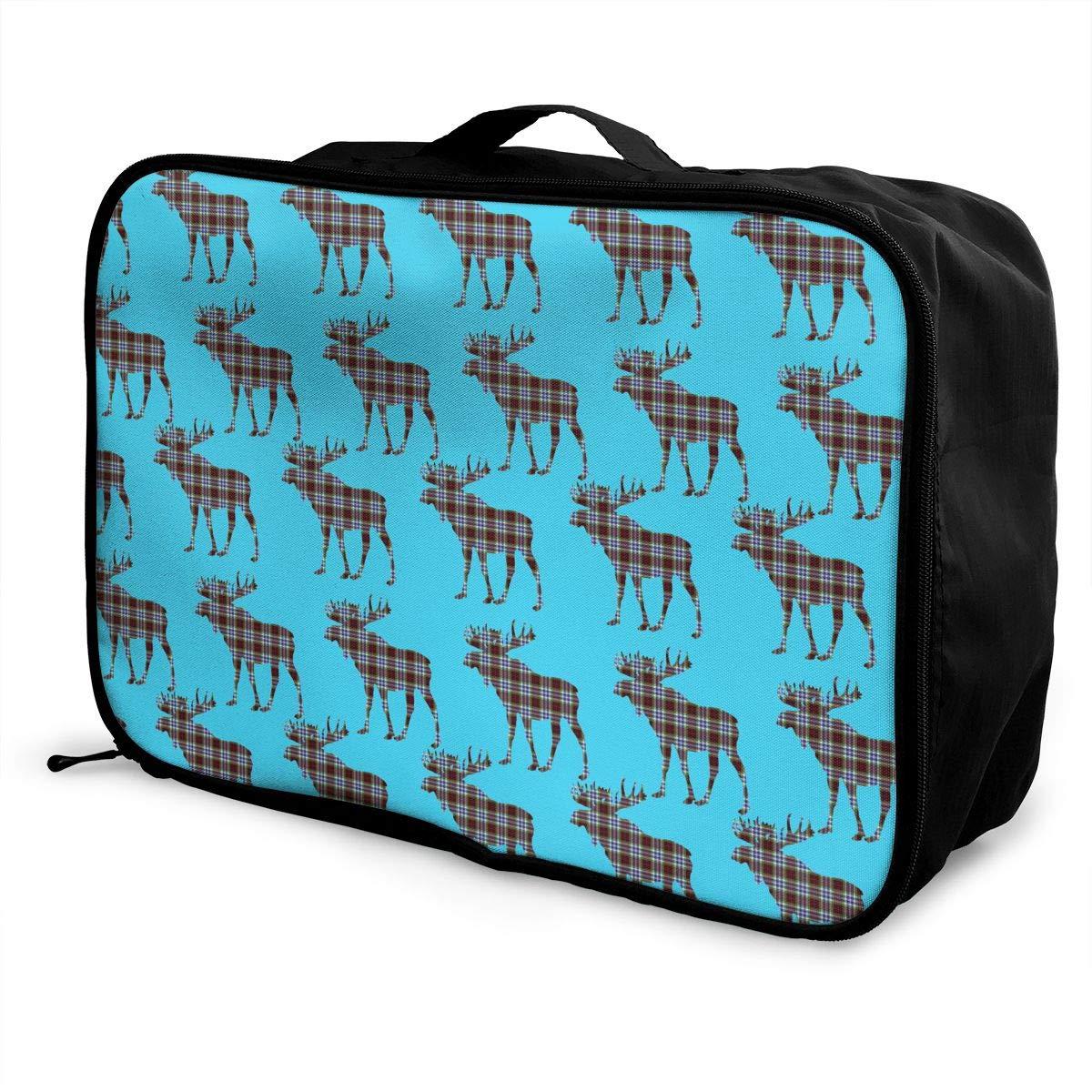 YueLJB Scotland Tartan Moose Lightweight Large Capacity Portable Luggage Bag Travel Duffel Bag Storage Carry Luggage Duffle Tote Bag