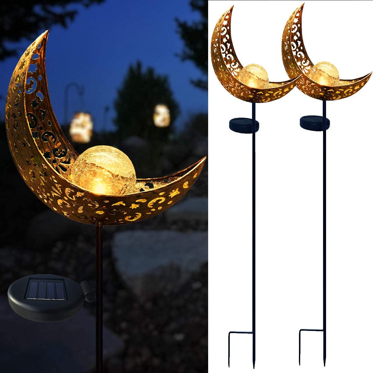 Solar Garden Stake Lights, Crackle Glass Globe with Hollowed-Out Metal Moon Molded,Solar Led Landscape Lights, Outdoor Waterproof Automatic On Off Solar Powered Yard, Patio,Deck,Lawn Lighting Decor