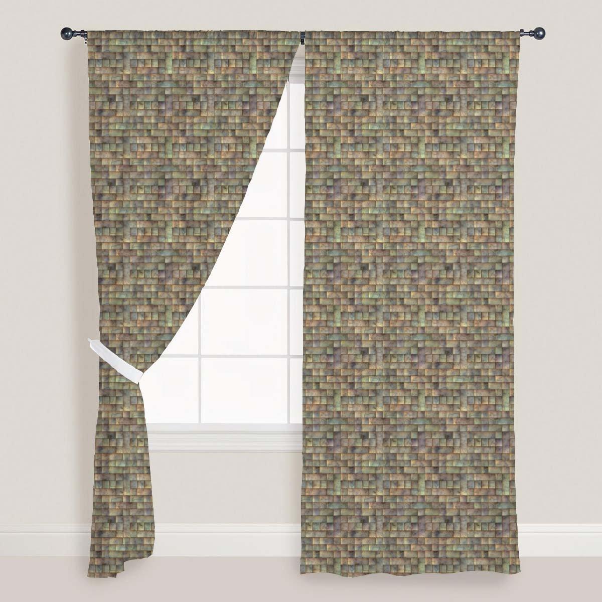 AZ Tiled Art Door & Window Curtain Satin 4feet x 7feet; SET OF 3 PCS