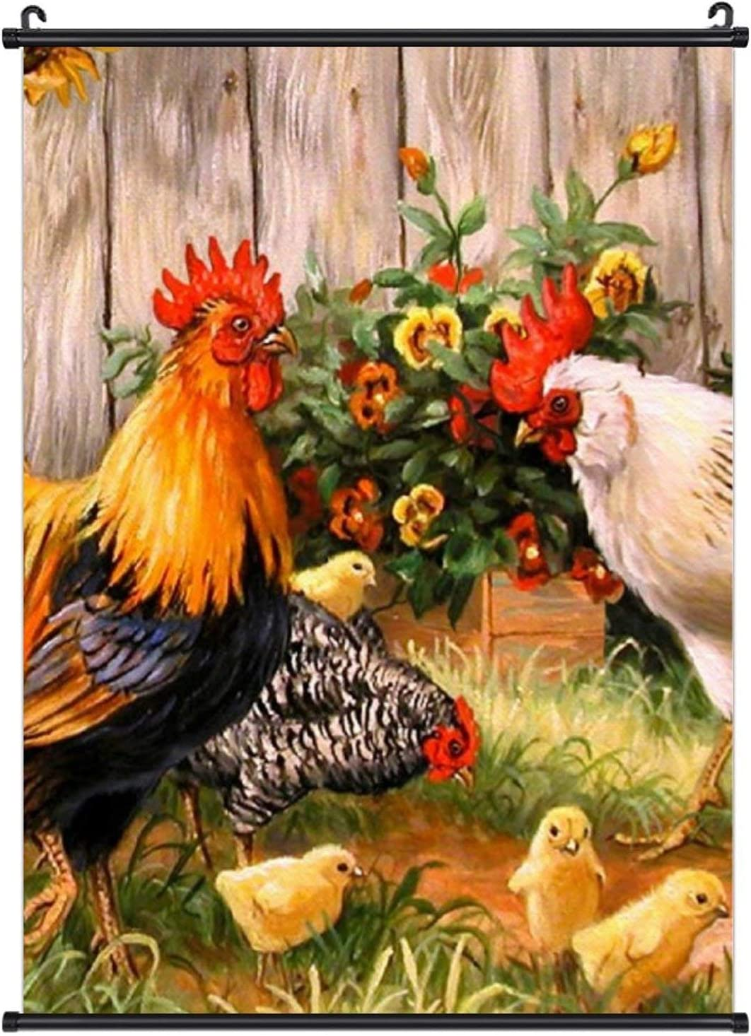 NiYoung Beautiful Poster Hanging Painting Canvas Wall Art Scroll Poster Home Decor for Office Bedroom Living Room, Chicken Rooster Garden Flowers Painting, 20x28 Inch