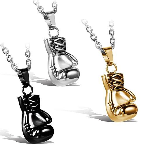 5030e57a80 Jewelrywe gioielli collana con pendente da uomo donna,prepotente  personalita Boxing gloves ciondolo,acciaio