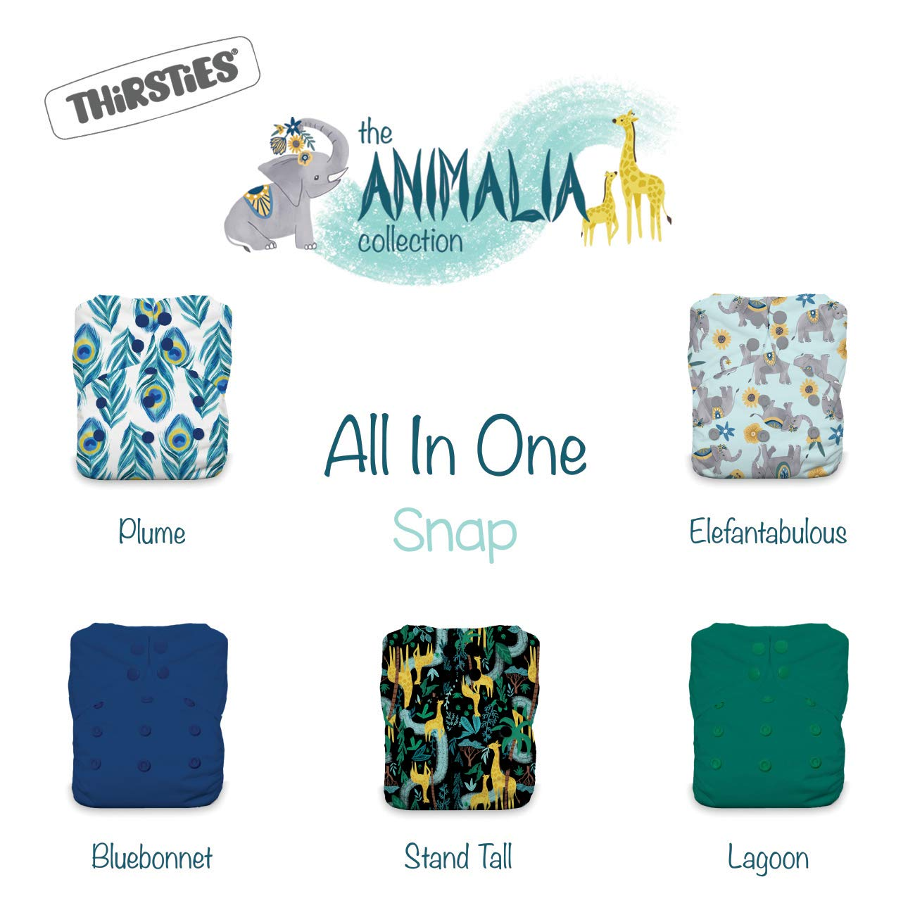 Thirsties Animalia Cloth Diaper Collection Package, Snap One Size All in One Cloth Diaper, Animalia