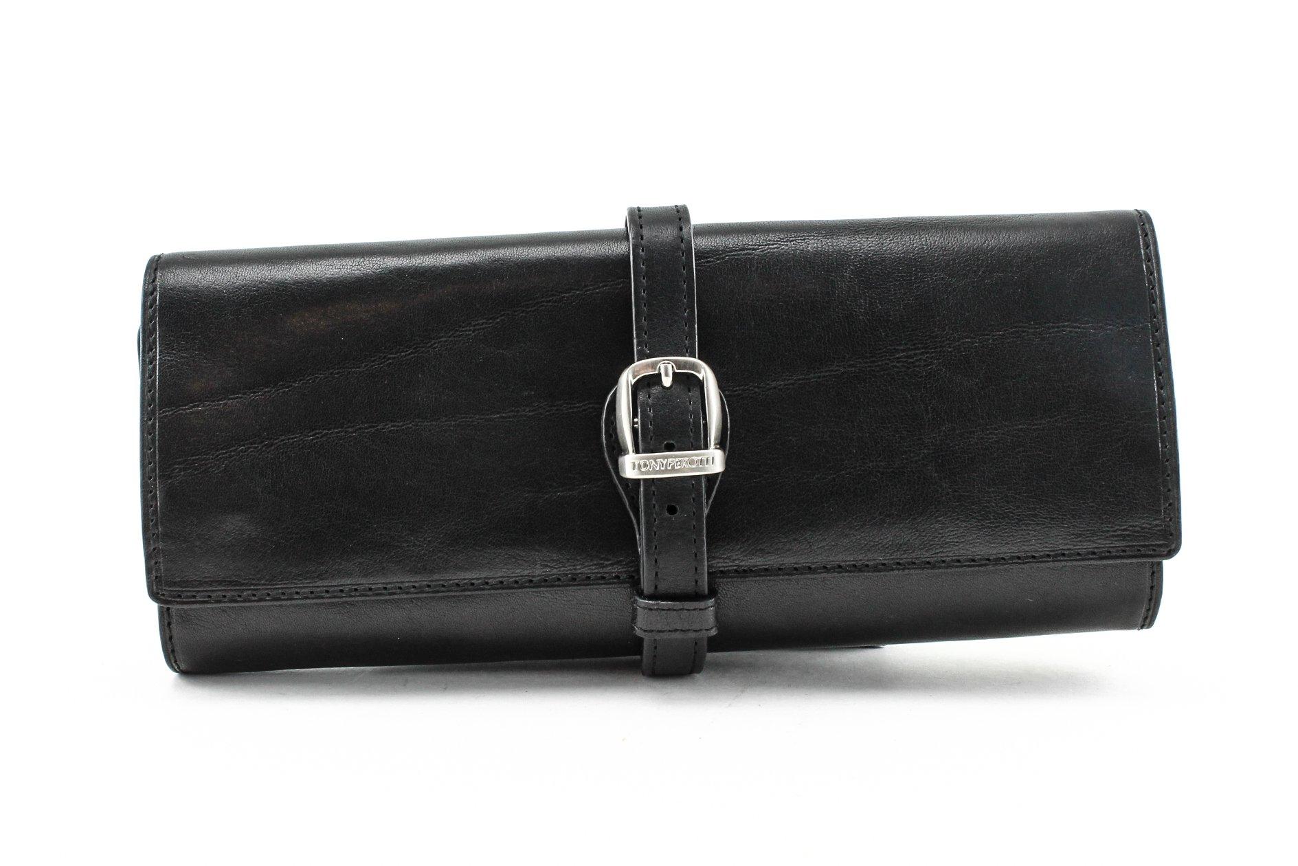 Tony Perotti Womens Italian Bull Leather Grande Jewelry Roll Travel Organizer in Black