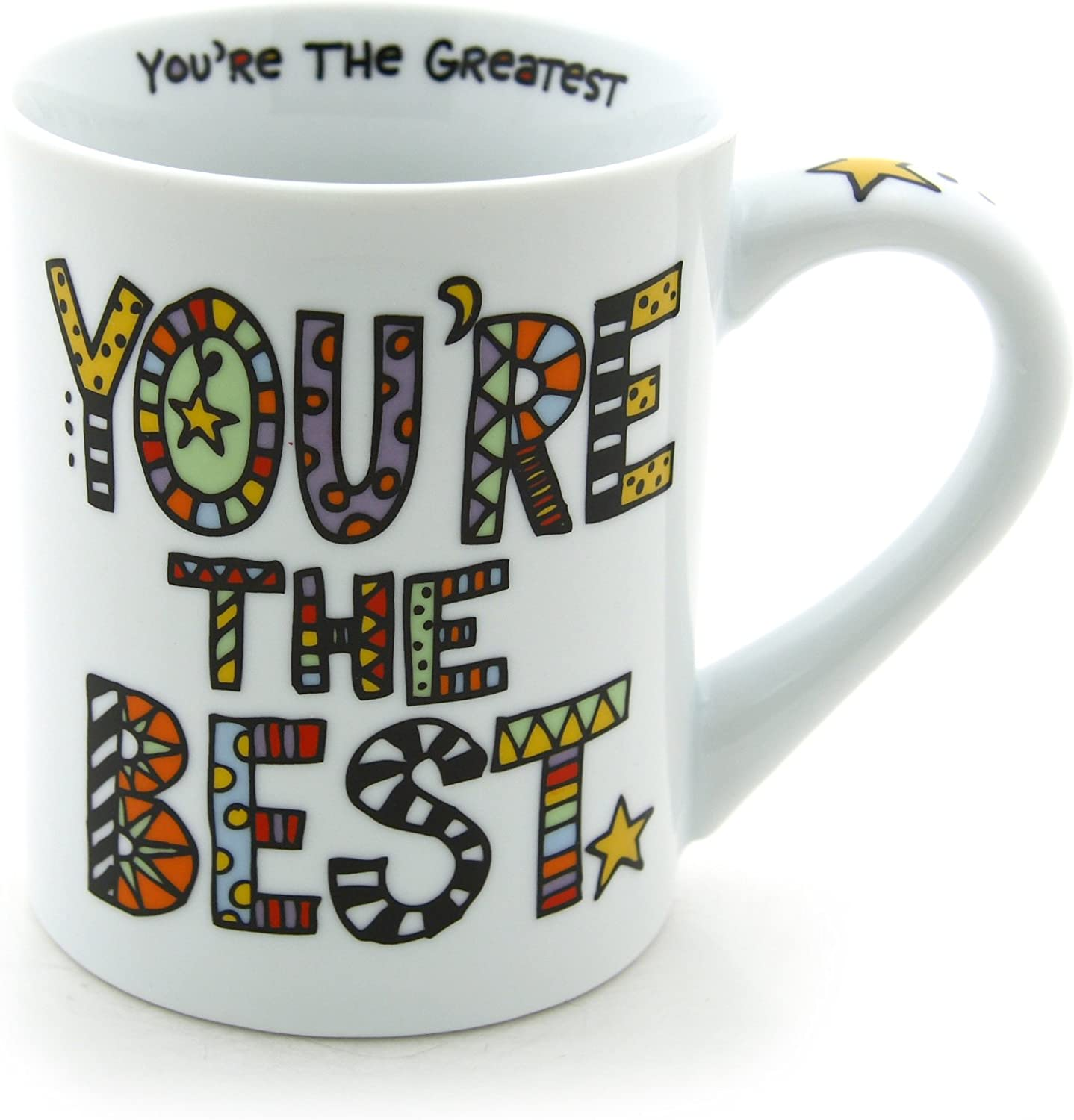 "This is an image of a white mug with multicolored ""You're the Best!"" print."