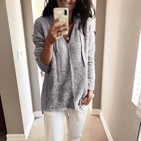 Mujer sudadera hoodie Invierno,Sonnena ❄ abrigo para mujer casual Al aire libre camisa peludo