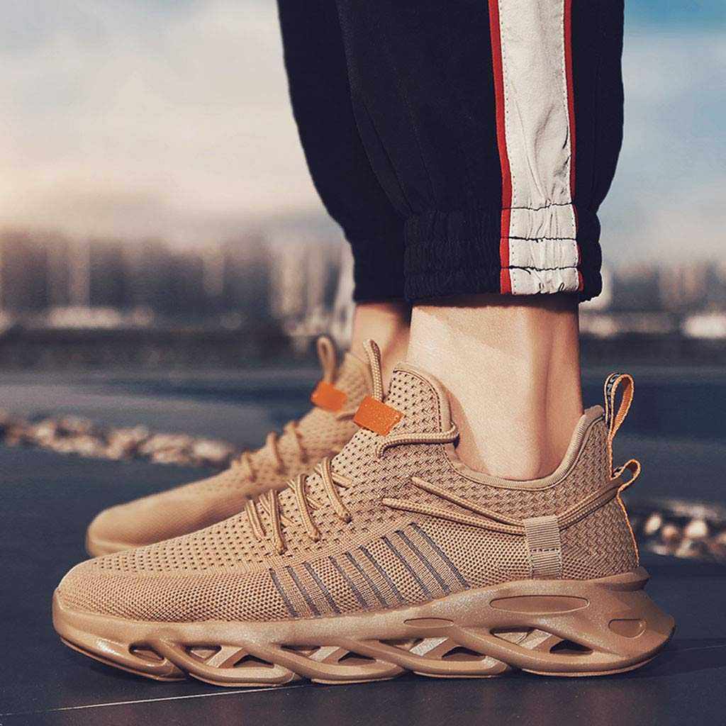 Mens Sneakers Mesh Ultra Breathable Lightweight Running Workout Tennis Shoes Lace-up Sport Outdoor Sneakers Orange