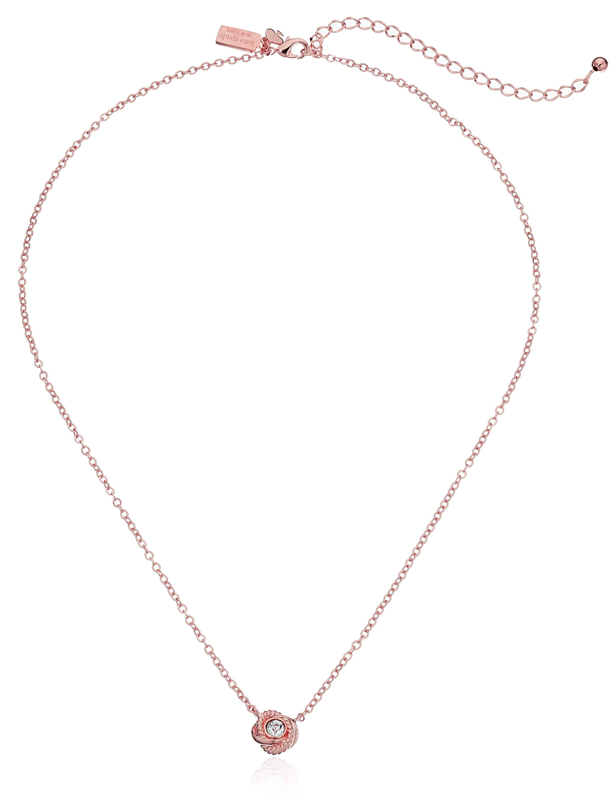 Kate Spade New York ''Infinity and Beyond Clear/Rose Gold Knot Mini Pendant Necklace, 17'' + 3'' Extender