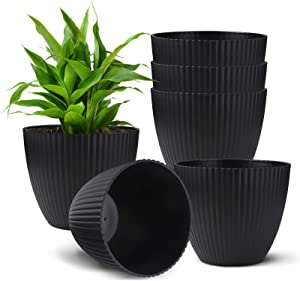 Haliluya Indoor Plant Pots 7 inch - 6 Pack Large Plastic Planters for Plants Flower Pots with Drainage Hole Modern Gardening Home Desktop Office Windowsill Decoration Gift Set 6 - Black