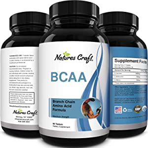 Natures Craft's BCAA Branched Chain Amino Acids Supplement Natural Muscle Builder Pure Energy Booster and Workout Exercise Support for Men and Women Boost Recovery L-Leucine L-Valine 60 Tablets