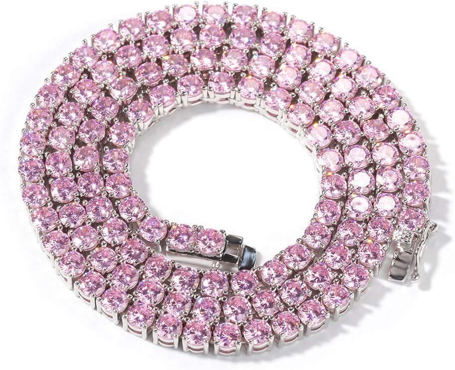 Collar Colgante,Collar de Fila de circón Rosa de 4 mm Hip Hop Europeo y Americano Moda Popular para Hombres y Mujeres Cadena de Tenis Salvaje Original de Tendencia Simple.