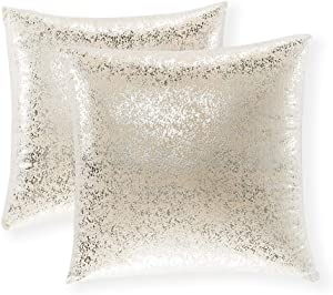 Xinrjojo Gift, Super Soft Sparkling Decorative Solid Color Square Cushion Cover Handmade Pillowcase with Hidden Zipper, 2 Packs,18x18 inch(Silver- Champagne)