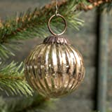 2 In Ribbed Silver Mercury Glass Kugel Ornament Set/6