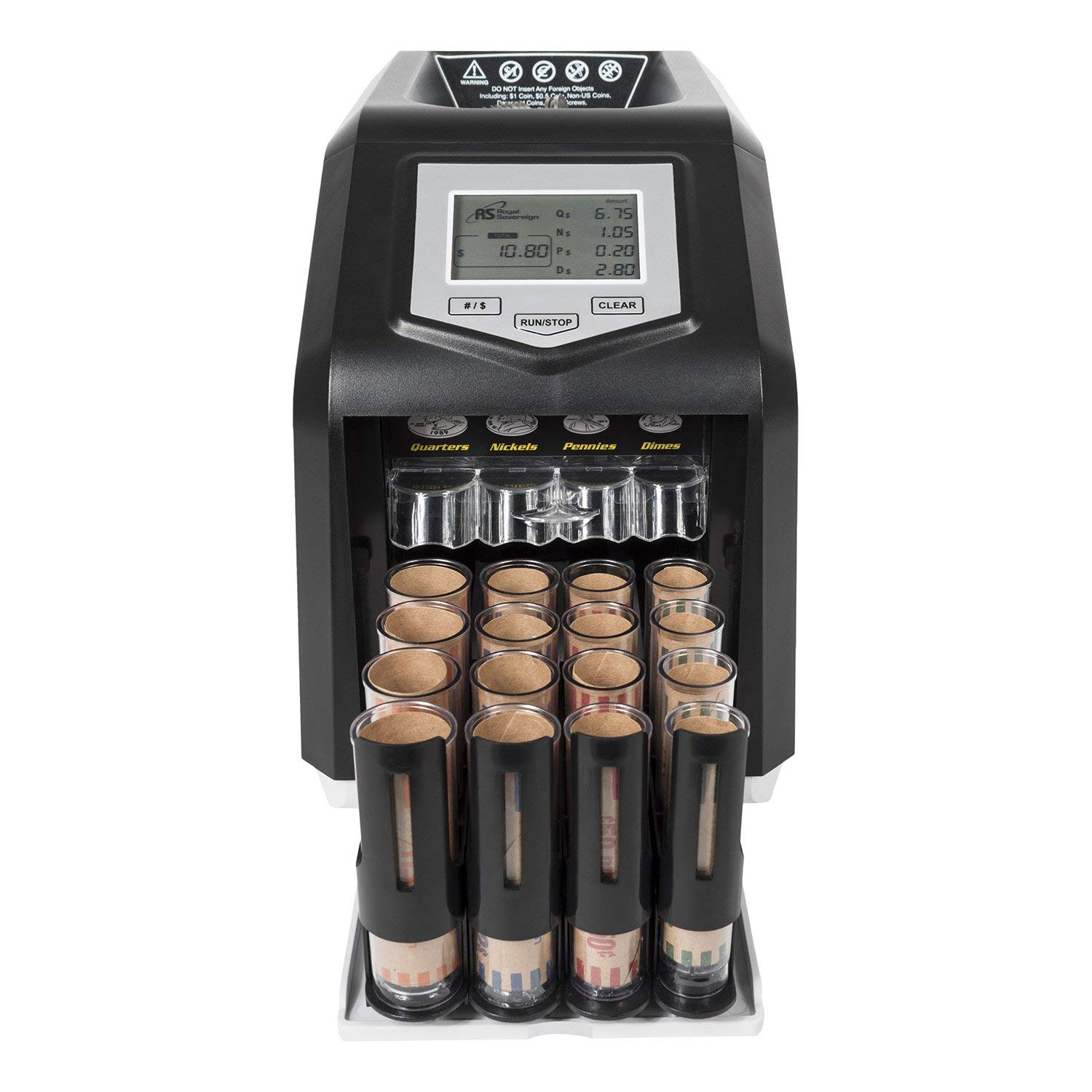 Royal Sovereign Digital 4 Row Electric Coin Sorter, Holds Up To 800 Coins by Royal Sovereign
