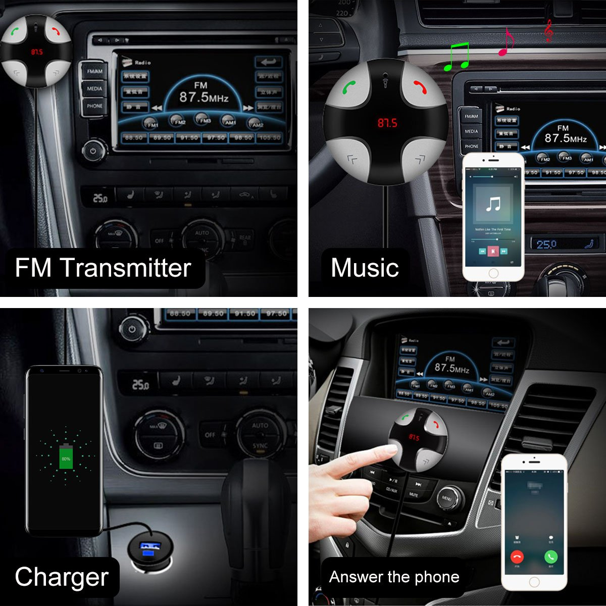 Guzack FM Transmitter Wireless Bluetooth Handsfree Transmitter Caller with Detachable Magnetic Mount TF Card Slot and USB Charger Car Stereo Receiver Wireless Car Kits Home Audio Stereo System