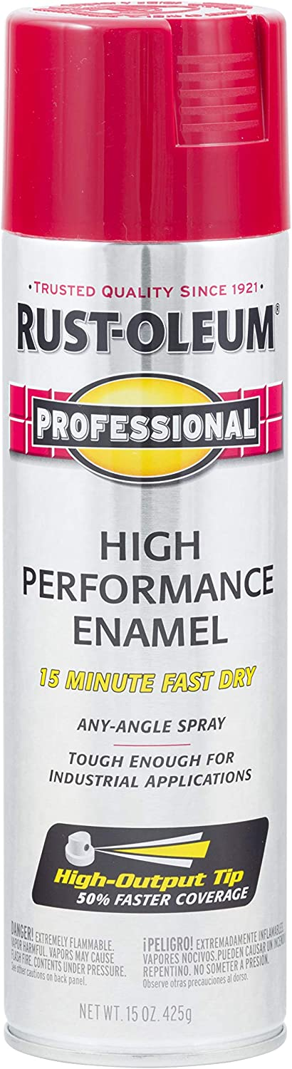 Rust-Oleum 7565838 Professional High Performance Enamel Spray Paint, 15 oz, Regal Red