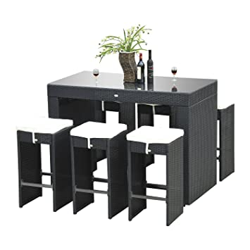 Outsunny 7pc Rattan Wicker Bar Stool Dining Table Set U2013 Black