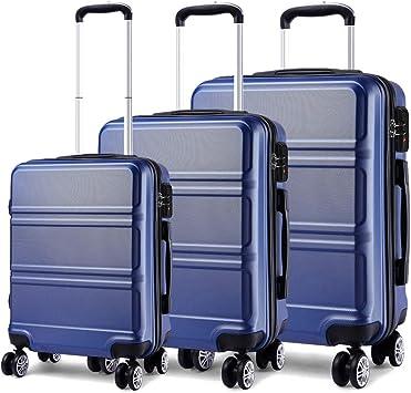 Kono Juego Set 3 Maletas Trolley Rígida ABS Equipajes de Viaje ...
