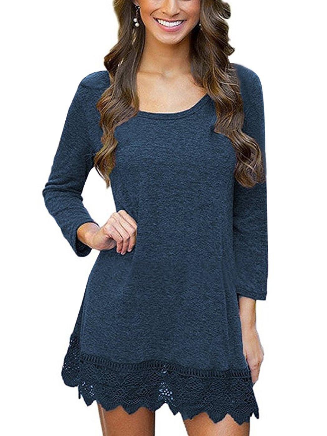 MiYang Women's Long Sleeve A-line Lace Stitching Trim Casual Dress XS Blue